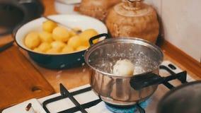 葱飞行入一个罐开水在家庭厨房里 慢的行动 股票视频