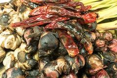 葱,香茅,辣椒,高良姜,大蒜猪肉汤的brun混合 库存照片