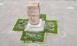 从蒂亚瓦纳科的雕象 免版税库存照片