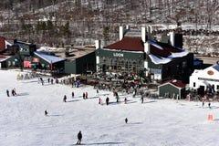蒂娜萨顿纪念品-障碍滑雪滑雪竞争 懒人山从推力椅子的小屋视图在小辈滑雪竞赛期间 免版税库存图片
