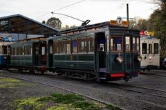 蒂安- 10月30 :老遗产路面电车电车轨道 库存照片
