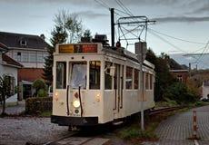 蒂安- 10月30 :老遗产路面电车电车轨道 免版税库存图片