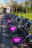 蒂米什瓦拉,ROMANIA-03 28 2019公开出租自行车系统 在驻地靠码头的自行车 库存照片
