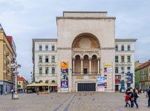 蒂米什瓦拉、罗马尼亚- 2016年10月15日-罗马尼亚国家歌剧院在蒂米什瓦拉,公开歌剧和芭蕾机关 库存照片