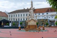 蒂米什瓦拉,罗马尼亚- 2016年10月15日雕象从1756在自由广场在蒂米什瓦拉 库存图片
