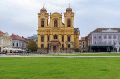 蒂米什瓦拉,罗马尼亚- 2016 10月15日,天主教主教制度的教会在蒂米什瓦拉,罗马尼亚 库存图片