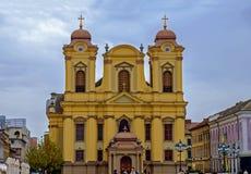 蒂米什瓦拉,罗马尼亚- 2016 10月15日,天主教主教制度的教会在蒂米什瓦拉,罗马尼亚 库存照片