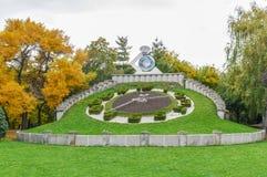 蒂米什瓦拉,罗马尼亚- 2015年10月15日-庭园花木时钟在蒂米什瓦拉大城市在西罗马尼亚 免版税库存照片