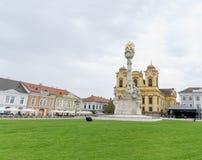蒂米什瓦拉,罗马尼亚-细节10月15日, 2016在联合正方形的三位一体雕象 库存照片
