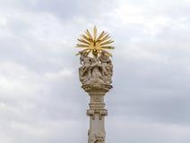 蒂米什瓦拉,罗马尼亚-细节10月15日, 2016在联合正方形的三位一体雕象 免版税库存图片