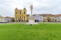 蒂米什瓦拉,罗马尼亚-细节10月15日, 2016在联合正方形1的三位一体雕象 免版税图库摄影