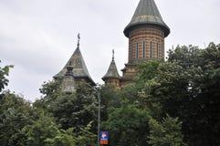 蒂米什瓦拉, 6月19日:正统大教堂从胜利广场耸立在从巴纳特县的蒂米什瓦拉镇在罗马尼亚 图库摄影