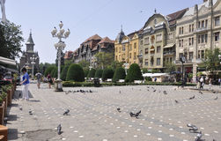 蒂米什瓦拉, 6月19日:胜利广场在从巴纳特县的蒂米什瓦拉镇在罗马尼亚 免版税图库摄影