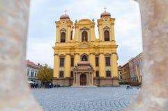 蒂米什瓦拉-主教制度的教会10月15日, 2016天主教在蒂米什瓦拉,罗马尼亚 免版税库存照片