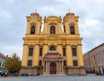 蒂米什瓦拉-主教制度的教会10月15日, 2016天主教在蒂米什瓦拉,罗马尼亚 库存照片
