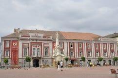 蒂米什瓦拉RO, 6月21日:从自由广场的艺术影院大厦在从巴纳特县的蒂米什瓦拉镇在罗马尼亚 库存照片