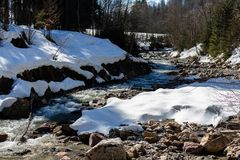 蒂罗尔州基希贝格,提洛尔/奥地利- 2019年3月24日:流经奥地利阿尔卑斯的岩石雪和河 免版税库存图片