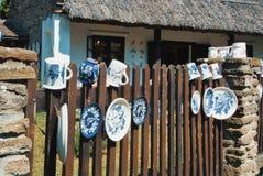 蒂豪尼,匈牙利- 2017年8月05日:被绘的手工制造装饰 库存照片