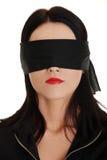 蒙住眼睛的女商人 免版税库存图片
