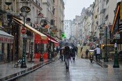 蒙加马利街道巴黎在1月 库存图片