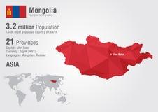 蒙古与映象点金刚石纹理的世界地图 免版税库存照片