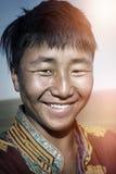蒙古人传统礼服孑然平静的概念 免版税库存照片