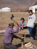 蒙古人地方砍的木头 免版税库存图片