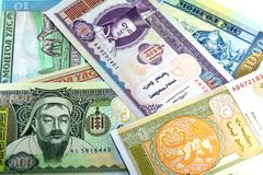 蒙古的钞票白色背景的 库存图片