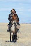 蒙古老鹰猎人12的生活 库存图片