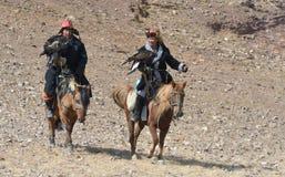 蒙古老鹰猎人15的生活 库存照片