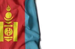 蒙古语起皱纹的旗子,文本的空间 免版税图库摄影