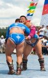 蒙古重量级的摔跤手 免版税库存图片