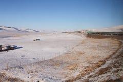 蒙古高原在冬天 库存照片