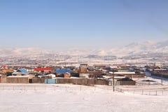 蒙古高原在冬天 免版税库存照片