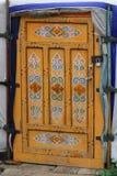 蒙古Yurt的装饰的门 免版税库存照片