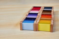 蒙台梭利颜色盒3 库存照片
