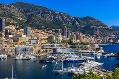 蒙地卡罗海港,彻特d'Azur,摩纳哥 免版税图库摄影