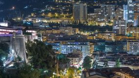 蒙地卡罗timelapse全景在从观察台的晚上在摩纳哥的村庄在口岸赫拉克勒斯附近的 股票视频