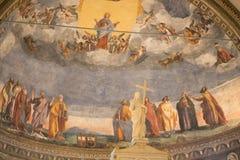蒙塔尼亚纳,意大利- 2017年8月6日:保佑的圣母玛丽亚的做法的大教堂1431 -1502 免版税库存图片