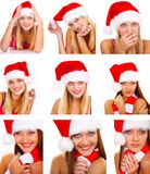 蒙太奇圣诞老人妇女 库存照片