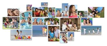 蒙太奇愉快的家庭父母&两儿童生活方式 免版税库存图片
