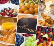 蒙太奇菜单&新健康饮食食物生活方式 库存图片