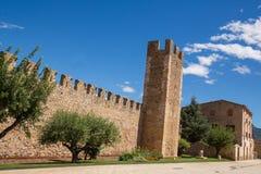 蒙布朗中世纪市墙壁  库存图片