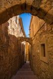 蒙布朗中世纪狭窄的街道 库存照片