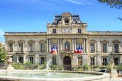 蒙彼利埃Townhall,在法国南部 库存照片