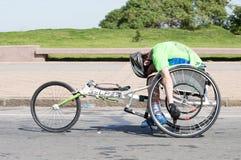 """蒙得维的亚,乌拉圭†""""2017年9月24日:在全球性能量种族的残疾赛跑者 库存图片"""
