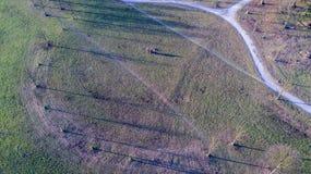 蒙扎公园,鸟瞰图别墅从上面被看见的Reale公园 意大利 图库摄影