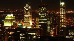 蒙特利尔在晚上 免版税库存照片