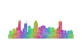 蒙特利尔地平线剪影-多色线艺术 库存图片