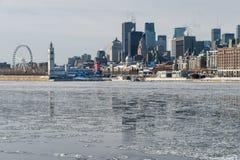 蒙特利尔地平线在冬天2018年 图库摄影
